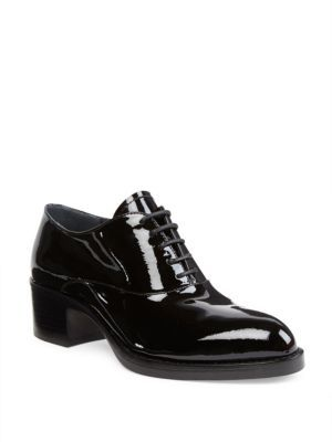 Prada Patent Leather Block-Heel Oxfords $850 thestylecure.com