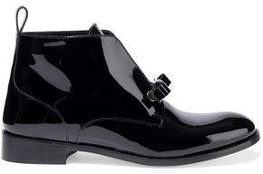 RED Valentino Bow-Embellished Patent-Leather Ankle Boots