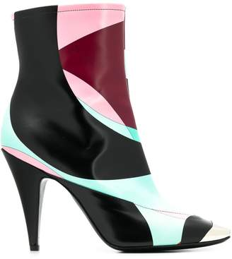 Emilio Pucci colour block ankle boots