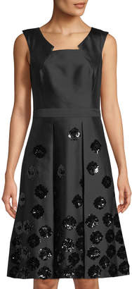 Michael Kors Floral-Sequin Fit-&-Flare Dress