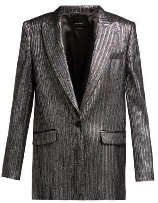 Isabel Marant Datja Metallic Single Breasted Blazer - Womens - Black Silver