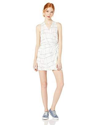 RVCA Junior's Crossed Off Woven TIE Front Dress