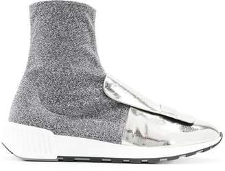 Sergio Rossi metallic sock-style sneakers