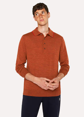 Paul Smith Men's Burnt Orange Merino Wool Long-Sleeve Polo Shirt