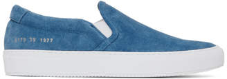 Common Projects Blue Suede Slip-On Sneakers