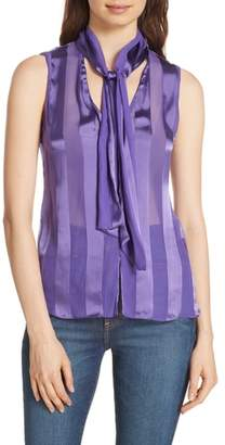 Alice + Olivia Gwenda Shadow Stripe Tie Neck Blouse