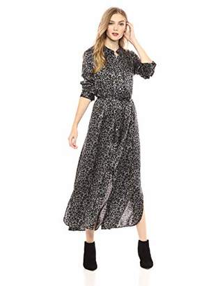 e3fcb620aa Equipment Women s Connell Monocrhome Leopard Printed Sandwashed Satin Maxi  Dress