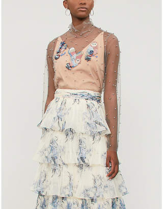 ALENA AKHMADULLINA Sequin and faux-pearl embellished woven top