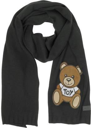 Moschino Teddy Bear Black Wool Long Scarf
