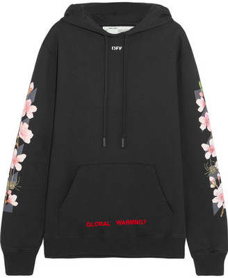 Off-White - Oversized Printed Cotton-jersey Hooded Sweatshirt - Black $615 thestylecure.com