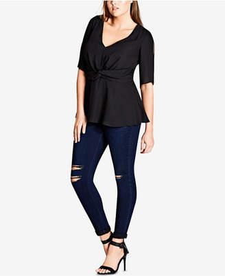 City Chic Trendy Plus Size Twist-Front Split-Sleeve Top