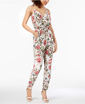 Material Girl Juniors' Printed Ruched-Hem Faux-Wrap Jumpsuit, Created for Macy's