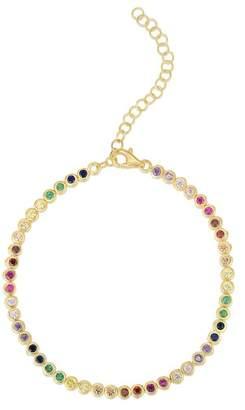 Chloé & Madison Yellow Gold Vermeil Bezel Set Rainbow CZ Tennis Bracelet
