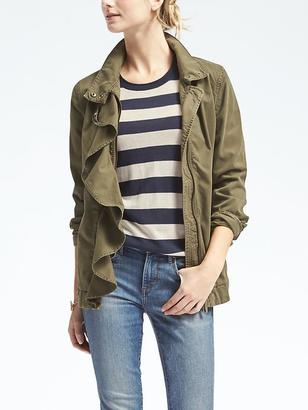 Ruffle-Front Military Jacket $148 thestylecure.com