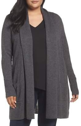Sejour Pocket Wool Blend Cardigan (Plus Size)
