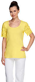 Liz Claiborne New York Scoop Neck Lace SleeveT-shirt