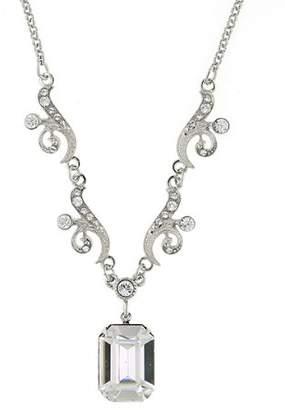 Swarovski 1928 Jewelry Bridal Crystal Silver-Tone Crystal Drop Pendant Necklace