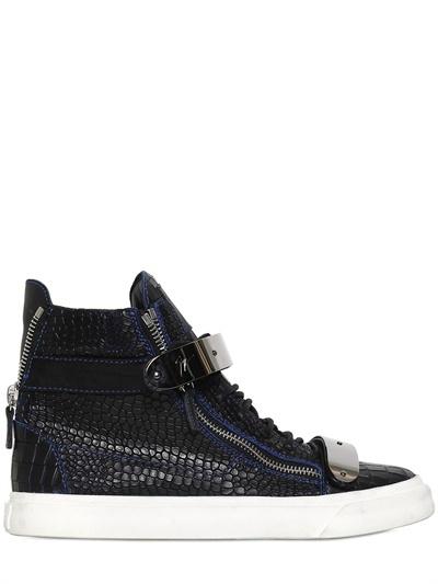 Croc Embossed Leather Sneakers