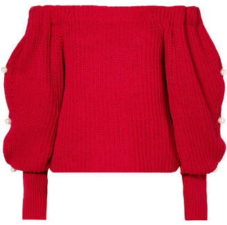Hellessy Vessel Off-the-shoulder Embellished Cotton Sweater - Red