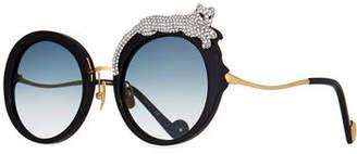 Karlsson Anna-Karin Rose et la Roue Round Crystal-Embellished Leopard Sunglasses
