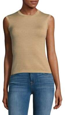Carolina Herrera Crewneck Cashmere & Silk Shell Top