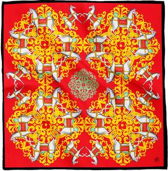 House of Gharats - Kalighat Horse Classic Silk Scarf Collection Red & Green Large