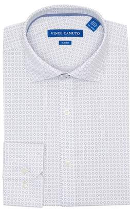 Vince Camuto Navy Print Slim Fit Dress Shirt