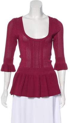 Torn By Ronny Kobo Ruffled-Trimmed Eyelet-Accented Sweater