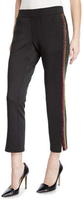Pam & Gela Cropped Track Pants with Rhinestone Side Stripes