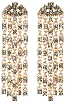 Leslie Danzis Statement Crystal Tassel Earrings