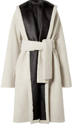 Rosetta Getty Oversized Belted Reversible Shearling Coat - Ivory