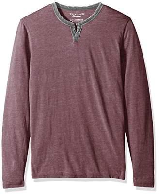 Lucky Brand Men's Long Sleeve Burnout Notch Neck Shirt