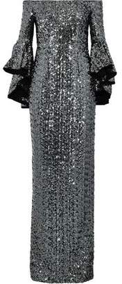 Milly Selena Off-The-Shoulder Sequined Tulle Gown