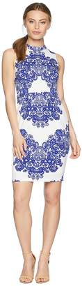 Adrianna Papell Petite Lace Printed Mock Neck Women's Dress