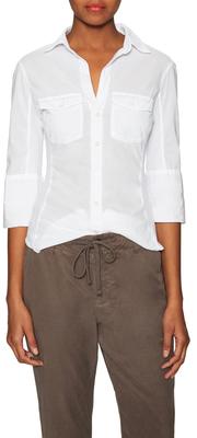 James PerseCotton Ribbed Trim Point Collar Shirt