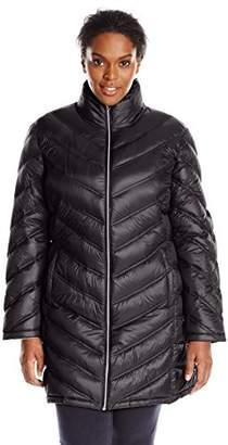 Calvin Klein Women's Plus-Size Chevron-Quilted Packable Down Coat