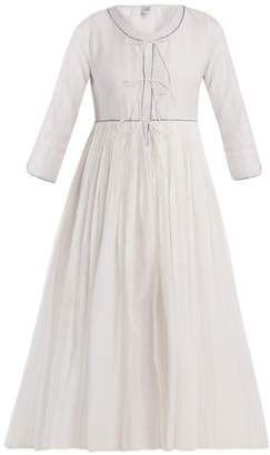Thierry Colson Sahar Pleated Silk And Cotton Blend Dress - Womens - White