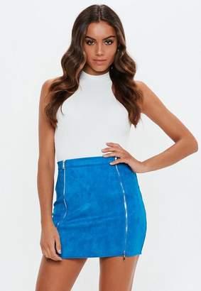 Missguided Cobalt Blue Double Zip Faux Suede Skirt