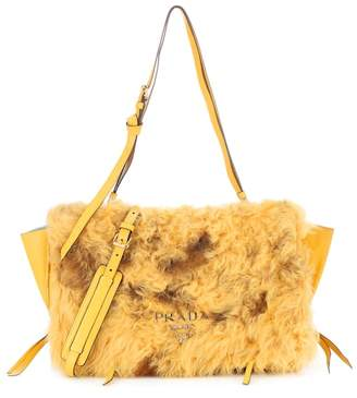 Prada Etiquette leather-trimmed fur clutch