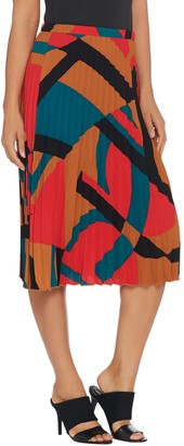 Denim & Co. Studio by Printed Pull-On Pleated Skirt
