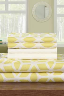 Ronda Super Soft Brushed Microfiber Striped Twin Sheet Set - Yellow - Set of 4