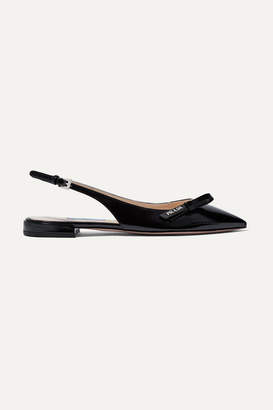 Prada Glossed Textured-leather Slingback Flats - Black