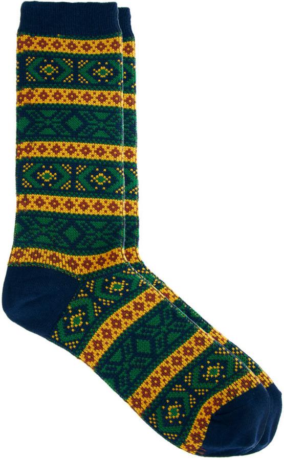 Vanishing Elephant Mustard Jaquard Socks