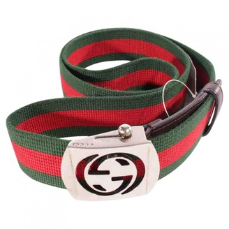 Gucci Interlocking Buckle Green Cloth Belts