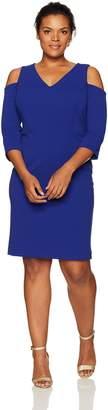Jessica Howard JessicaHoward Women's Plus Size Elbow Sleeve Cold Shoulder Dress