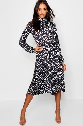 boohoo High Neck Long Sleeve Dalmatian Print Midi Dress