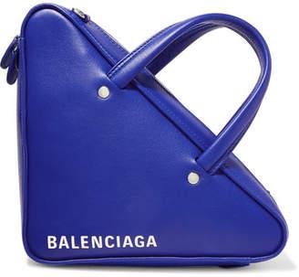Balenciaga Triangle Duffle Printed Leather Tote - Royal blue
