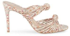 Schutz Chandra Floral Leather Strappy Mule Sandals