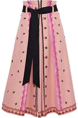 Temperley London Poppy Field Embroidered Cotton-Faille Midi Skirt