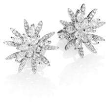 Roberto Coin Diamond& 18K White Gold Flower Button Earrings